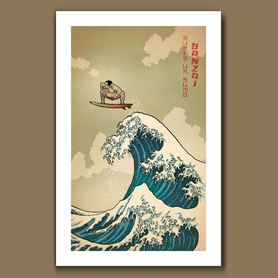 SURFS UP SUMO - Great Wave Big Surf Sumo Wrestler Art Print 11x17 by Rob Ozborne