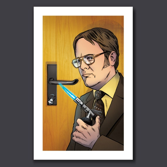 DWIGHT SCHRUTE - The Office Fire Safety Drill - 11x17 Art Print by Rob Ozborne