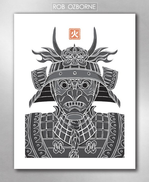 SAMURAI FIRE from the Elements Collection Poster Art Print by Rob Ozborne