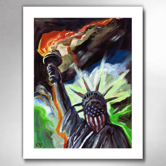 LADY LIBERTY - Torch of Freedom - American Painting 11x14 Art Print by Rob Ozborne
