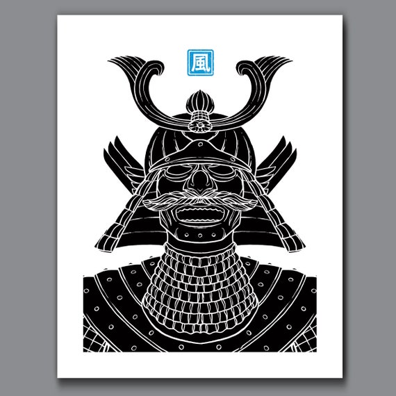 SAMURAI WIND - Black and White Samurai Elements Collection - 11x14 Art Print by Rob Ozborne