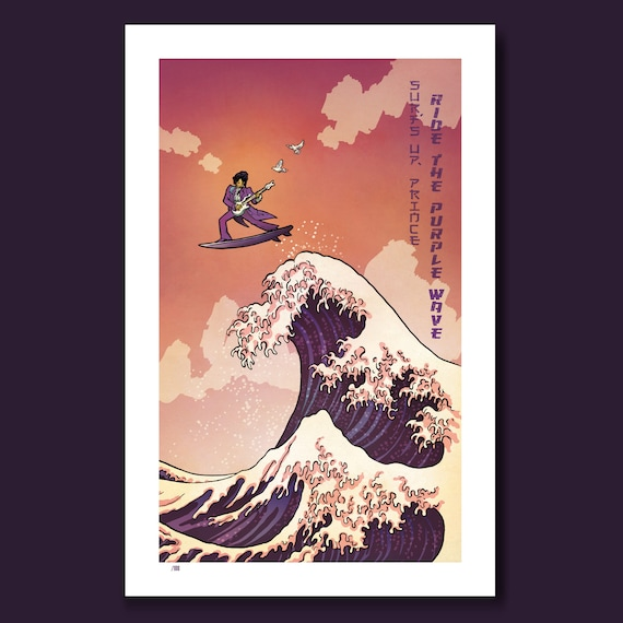 SURFS UP PRINCE - Ride the Purple Wave - Great Wave Big Surf Art Print 11x17 by Rob Ozborne