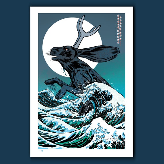 JACKALOPE-ZILLA and the Great Wave - Limited Edition - 13x19 Art Print by Rob Ozborne