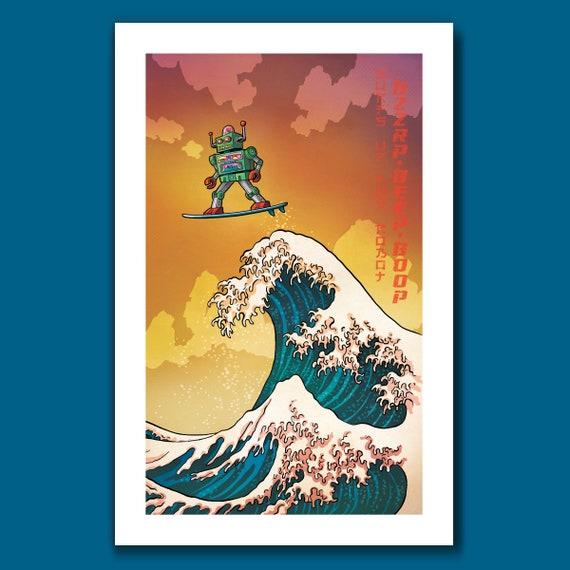 SURFS UP ROBOT - Great Wave Big Surf - Vintage Toy Robot Art Print 11x17 by Rob Ozborne