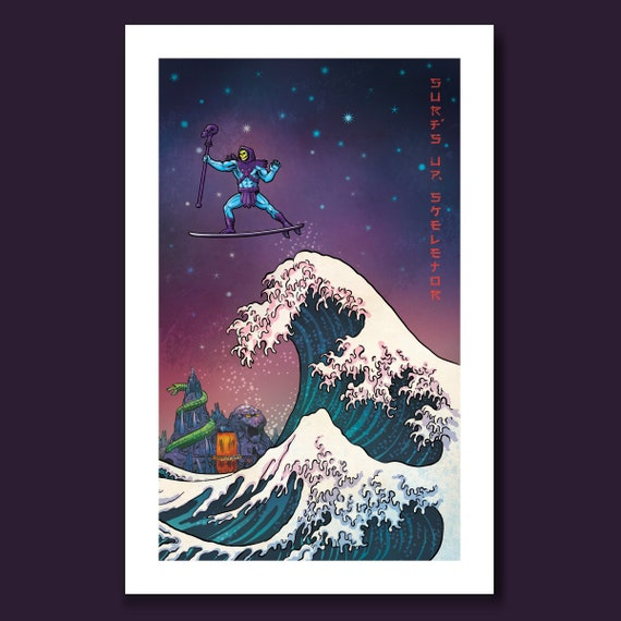 SURFS UP SKELETOR - Masters of the Great Wave - 11x17 Art Print by Rob Ozborne