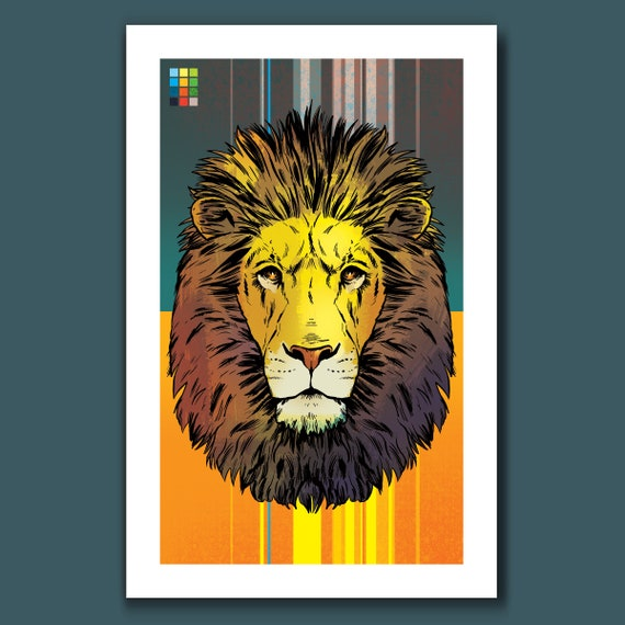 LION - 11x17 Art Print - from the Lion Tiger Bear set - by Rob Ozborne