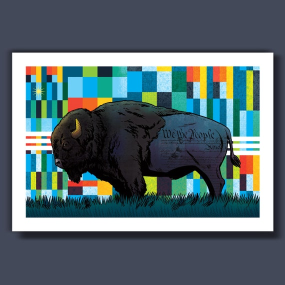BISON - We The People - 13x19 Art Print by Rob Ozborne