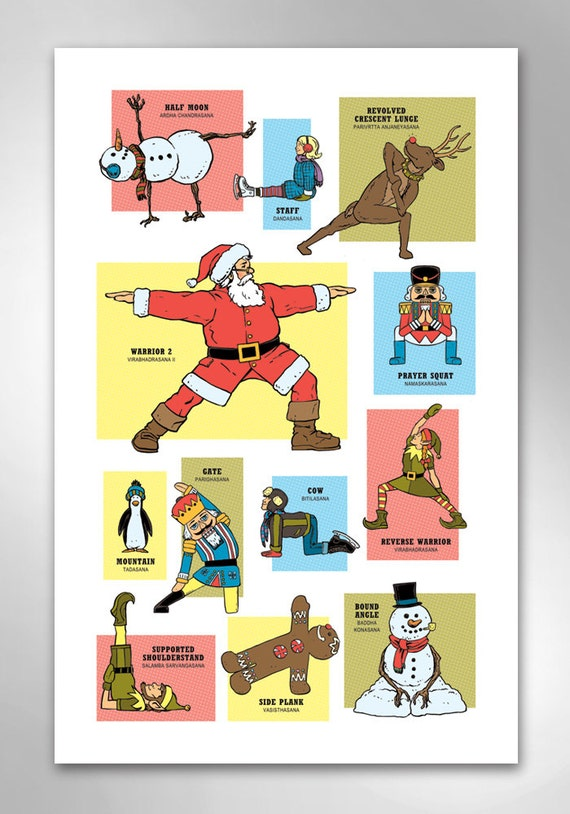 CHRISTMAS YOGA Art Print 11x17 by Rob Ozborne