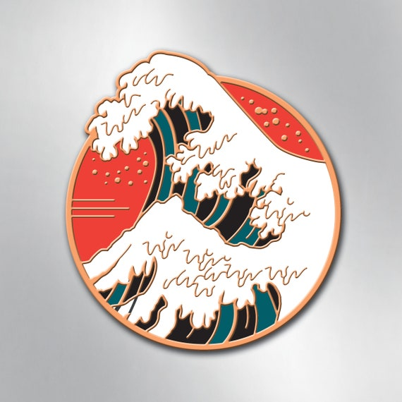 GREAT WAVE Enamel Pin - Thank You Hokusai - Collectible Art Pin by Rob Ozborne