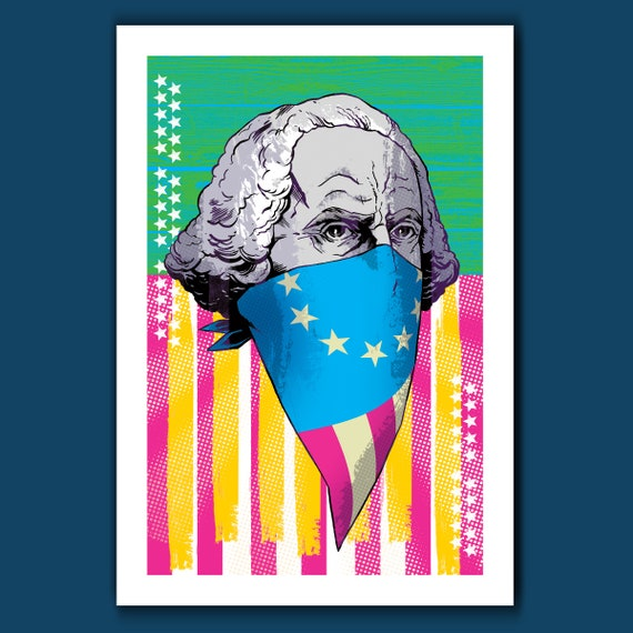 George Washington OG - American Pop CMYK Revolution - 13x19 Art Print by Rob Ozborne