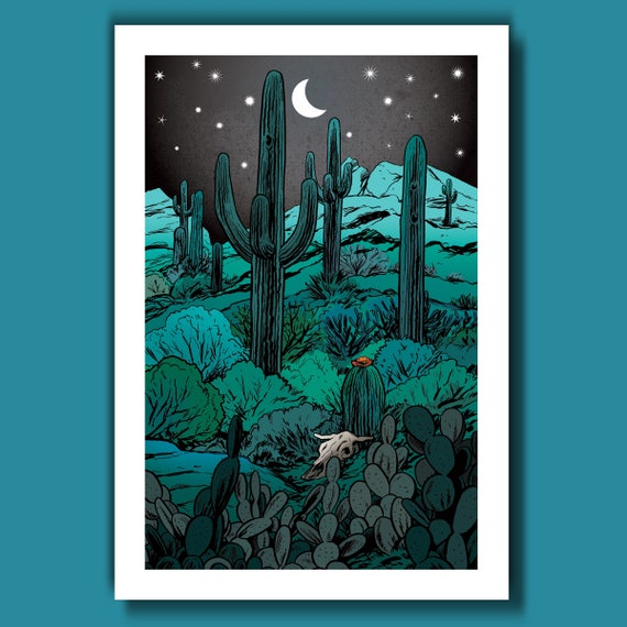 DESERT - Midnight Edition - 13x19 Art Print by Rob Ozborne