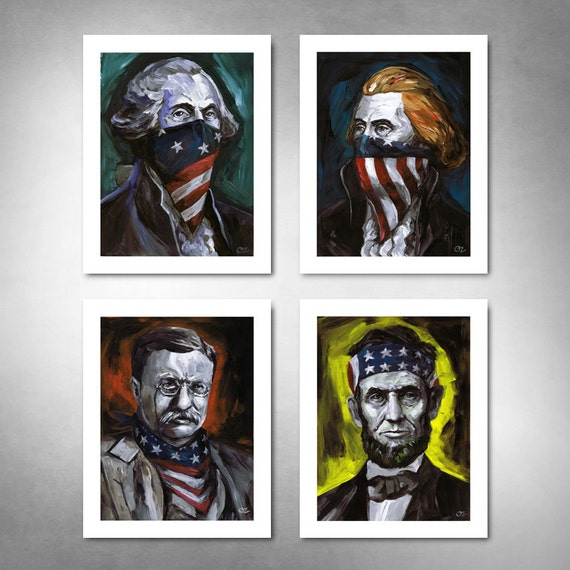 RUSHMORE OUTLAWS - Set of (4) American Painting Art Prints 11x14 by Rob Ozborne