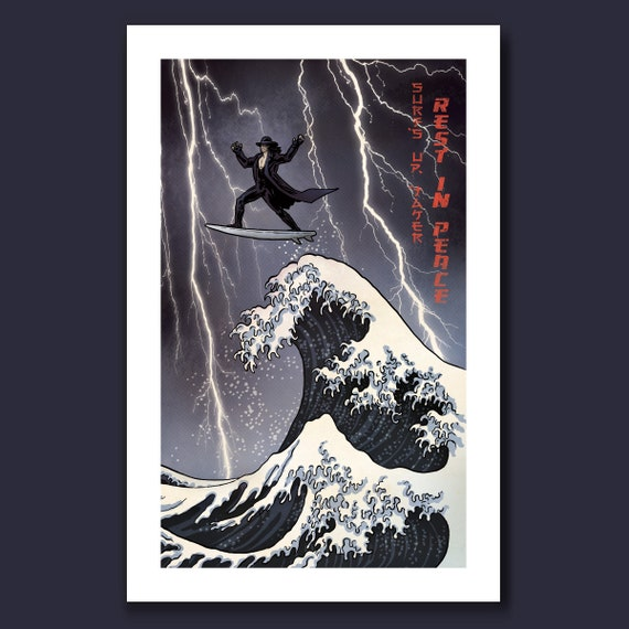 SURFS UP TAKER - the Dead Man Undertaker rides the Great Wave  - Great Wave Big Surf Art Print 11x17 by Rob Ozborne