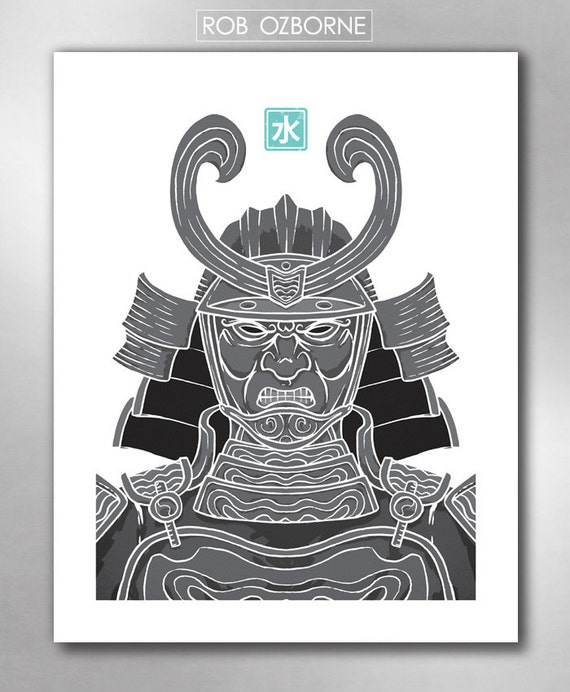 SAMURAI WATER from the Elements Collection Poster Art Print by Rob Ozborne
