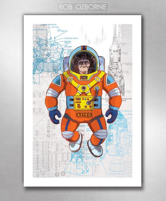 ASTRO CHIMP Space Astronaut Retro Futurism Sci-Fi 13x19 Art Print by Rob Ozborne