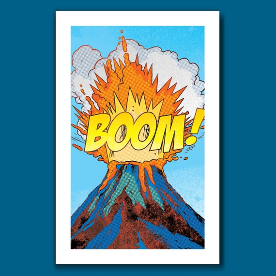 VOLCANO BOOM - New Edition - Comic Book Modern Pop 11x17 Art Print by Rob Ozborne