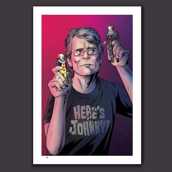 STEPHEN KING PLAYS (With It) - Toy Action Figures and Villains - 13x19 Limited Edition Art Print by Rob Ozborne