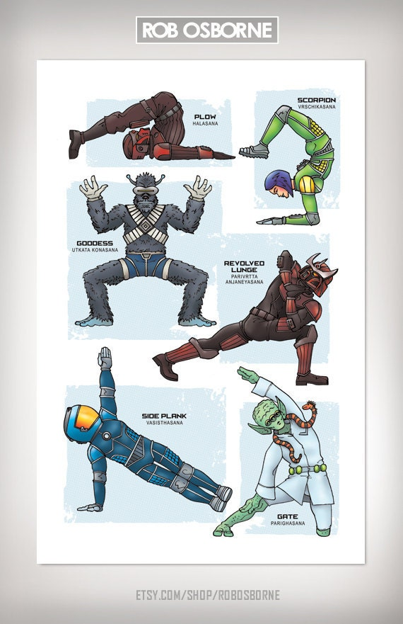 Sci-Fi GALAXY YOGA Super Pop Art Print 11x17 by Rob Osborne