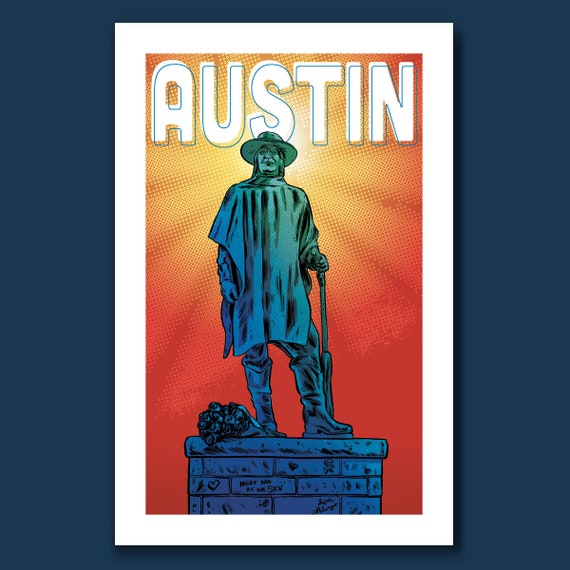 AUSTIN - Stevie Ray Vaughan statue - Live Music Capital of the World Art Print 11x17 by Rob Ozborne