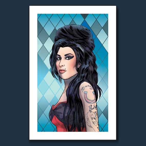 AMY WINEHOUSE - Back to Black - Pop Music Tribute 11x17 Art Print by Rob Ozborne