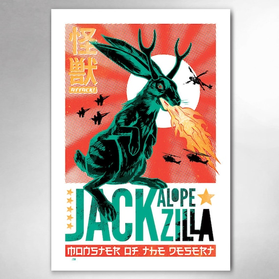 JACKALOPE-ZILLA Limited Edition 13x19 Art Print by Rob Ozborne