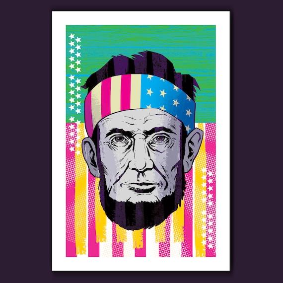 Abe Lincoln - American Pop CMYK Be Free - 13x19 Art Print by Rob Ozborne