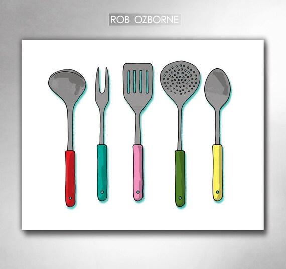 MODERN KITCHEN UTENSILS Mid Century Atomic Kitchen Art Print by Rob Ozborne