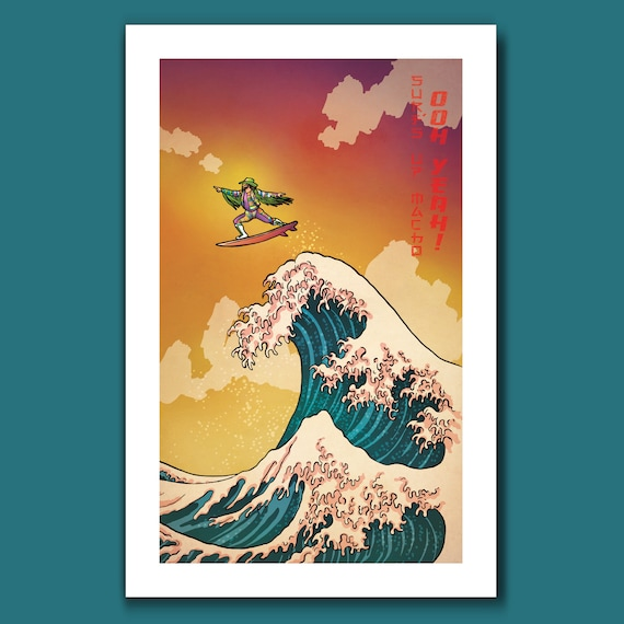 SURFS UP MACHO - Oooh Yeah Macho Man Randy Savage Surfing - Great Wave Big Surf Art Print 11x17 by Rob Ozborne