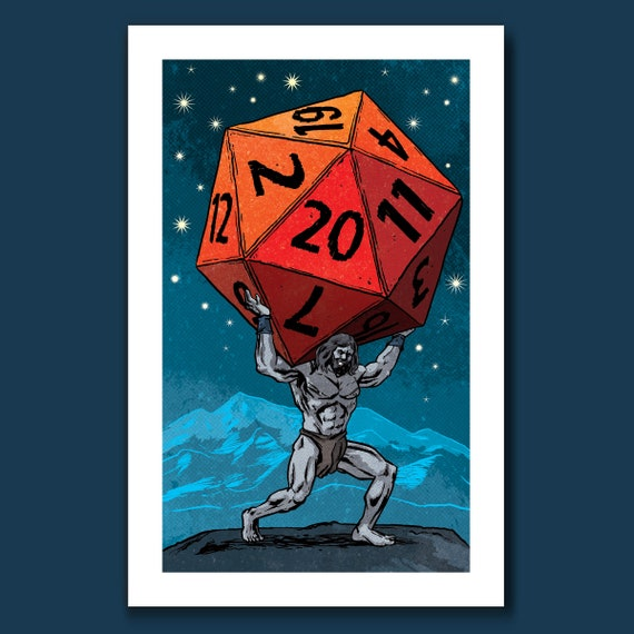 ATLAS ROLLED - D20 RPG DnD 20 Sided Dice - Pop Art Print 11x17 by Rob Ozborne
