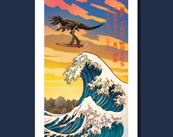Surfs Up FOSSIL T-REX - Great Wave Big Surf Dinosaur Tyrannosaurus Rex Art Print 11x17 by Rob Ozborne