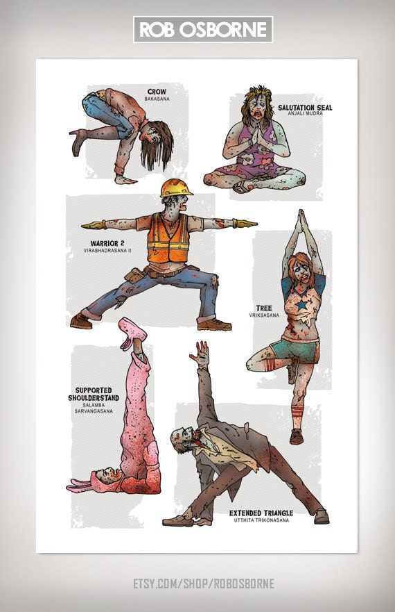 ZOMBIE YOGA Art Print 11x17 by Rob Osborne