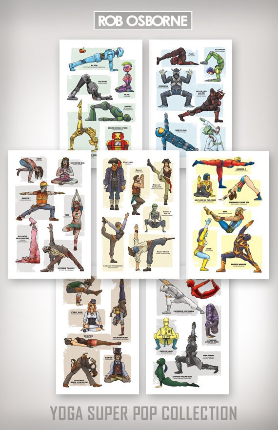 YOGA SUPER POP Collection - Seven Art Prints - 11x17 by Rob Osborne