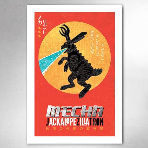 MECHA JACKALOPE-Zilla-Tron 13x19 Art Print by Rob Ozborne