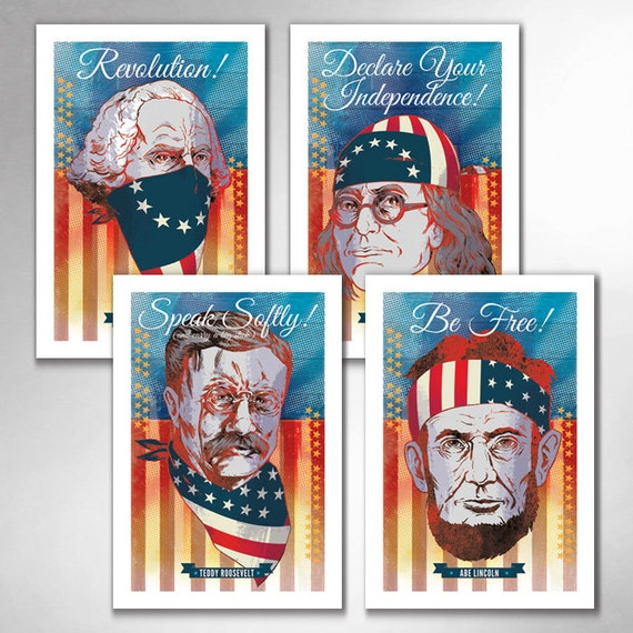 American Pop Revolution Independence Freedom Set of Four 13x19 Art Prints by Rob Ozborne