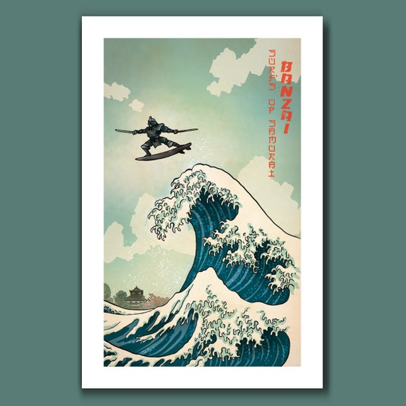 SURFS UP SAMURAI - Great Wave Big Surf Art Print 11x17 by Rob Ozborne