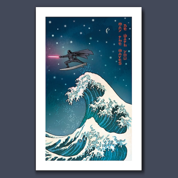 SURFS UP VADER - Great Wave Inspired May the Waves Be with You - 11x17 Art Print by Rob Ozborne