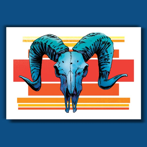 RAM SKULL - 13x19 Art Print by Rob Ozborne