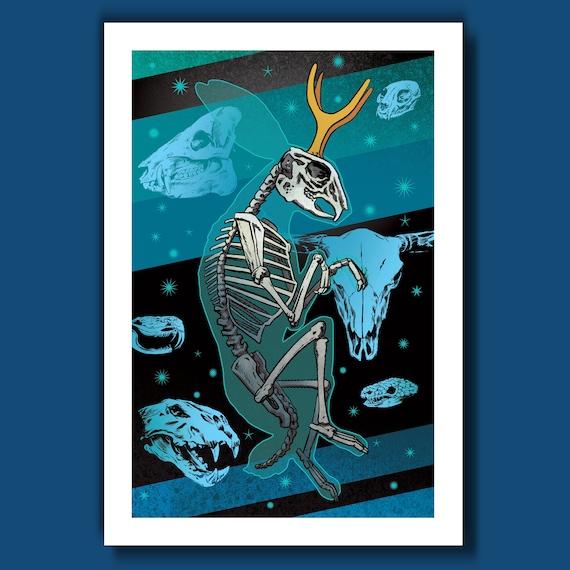 JACKALOPE SKELETON - Midnight Edition - 13x19 Art Print by Rob Ozborne