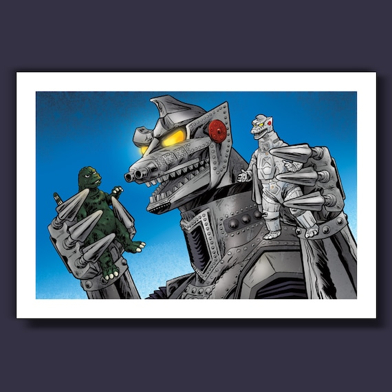 MECHAGODZILLA PLAYS - Action Figures and Villains - 13x19 Limited Edition Art Print by Rob Ozborne