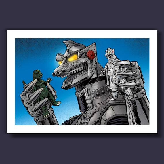 MECHAGODZILLA PLAYS - Action Figures and Villains - 13x19 Limited Edition Art Print by Rob Ozborne