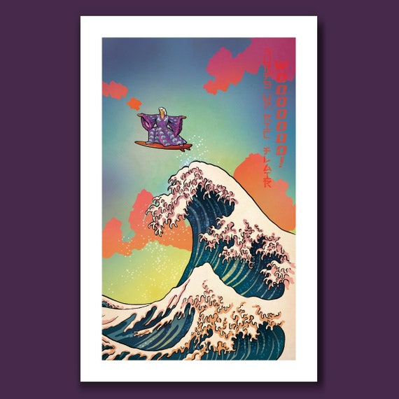 SURFS UP WOOO - Nature Boy Ric Flair Surfing - Great Wave Big Surf Art Print 11x17 by Rob Ozborne