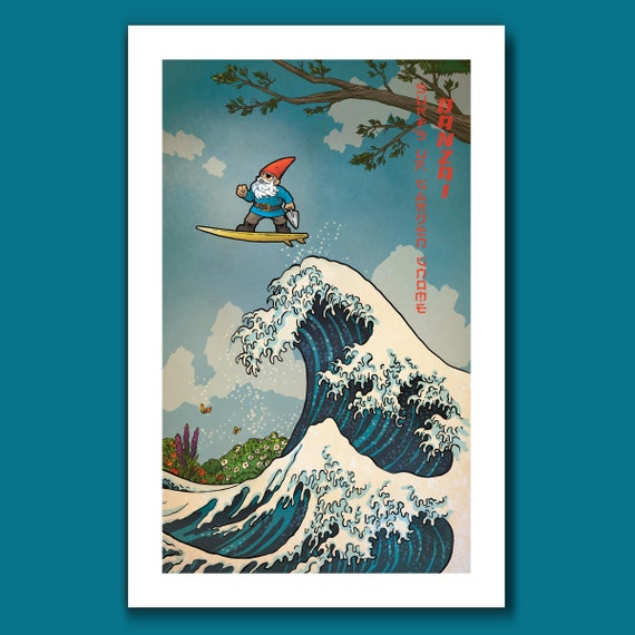 SURFS UP Garden Gnome - Eye Patch Surfing Gnome - Great Wave Big Surf Art Print 11x17 by Rob Ozborne