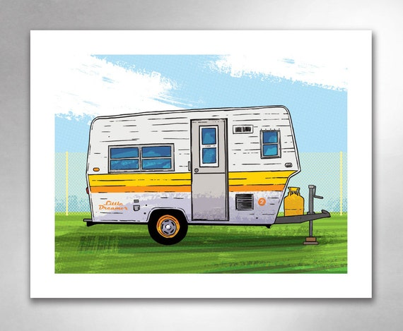 VINTAGE TRAVEL TRAILER 2 Little Dreamer Yellow Orange Art Print by Rob Ozborne