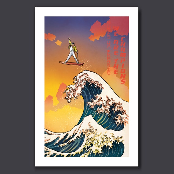 SURFS UP Freddie MERCURY - Great Wave Big Surf Musical Rock n Roll Tribute - Art Print 11x17 by Rob Ozborne