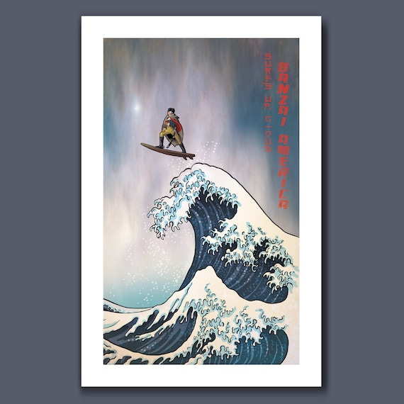 SURFS UP George Washington - G-Dub Surfing the Deleware - Great Wave Big Surf Art Print 11x17 by Rob Ozborne
