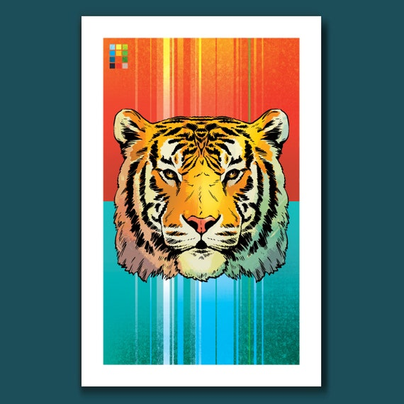 TIGER - 11x17 Art Print - from the Lion Tiger Bear set - by Rob Ozborne