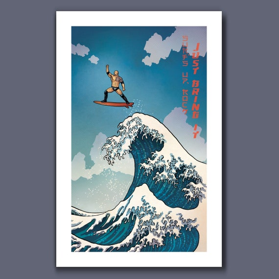 SURFS UP ROCK - Dwayne Johnson The Rock Surfing - Great Wave Big Surf Art Print 11x17 by Rob Ozborne