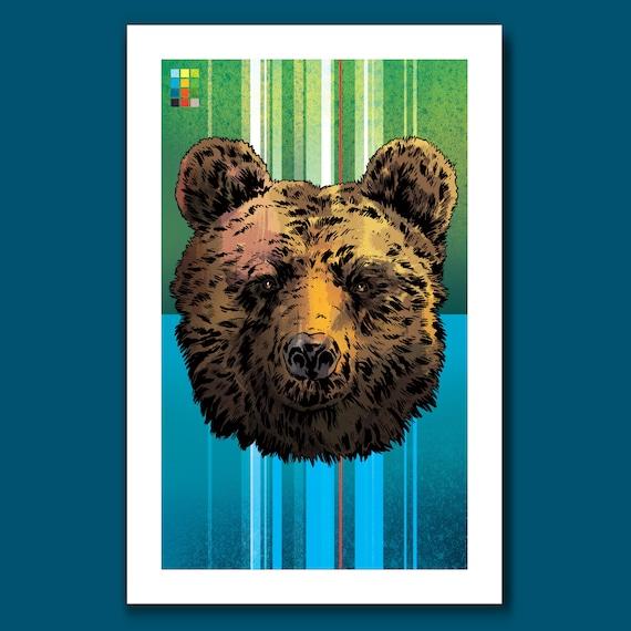 BEAR - 11x17 Art Print - from the Lion Tiger Bear set - by Rob Ozborne