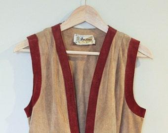 70s Vintage Suede Tunic Vest Hippy Boho Ren Faire