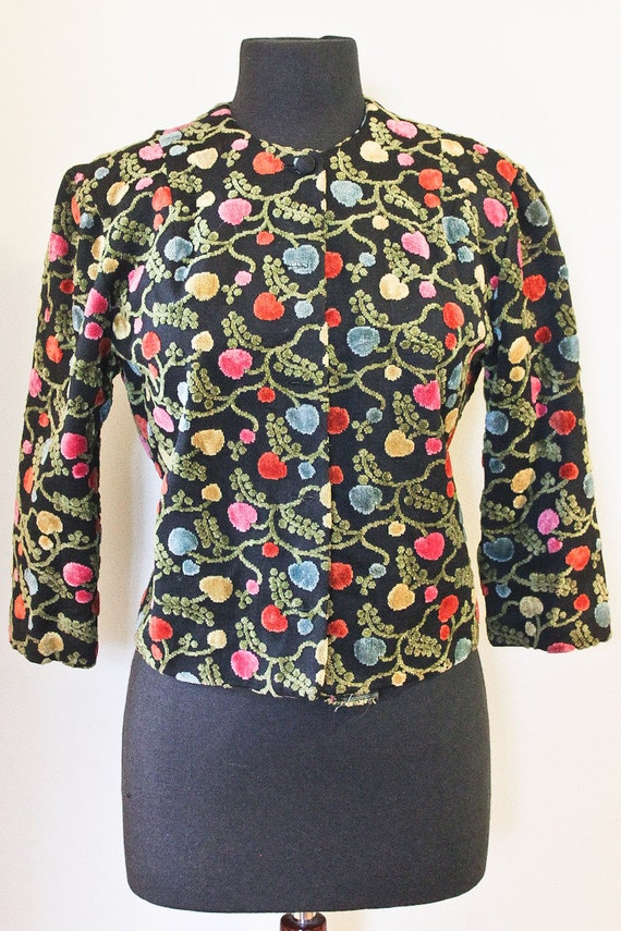 60s Cropped Floral Tapestry Jacket